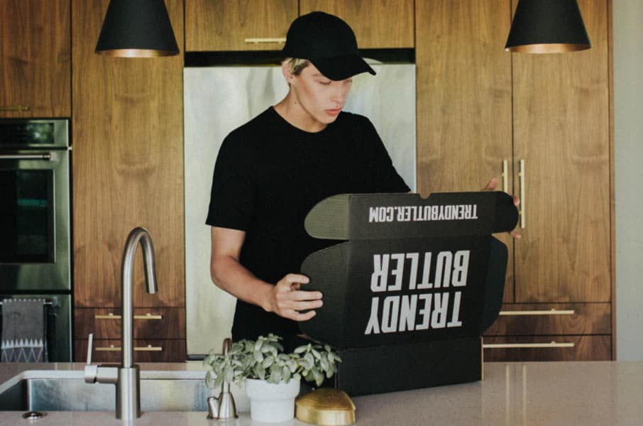 opening a new box of trendy butler